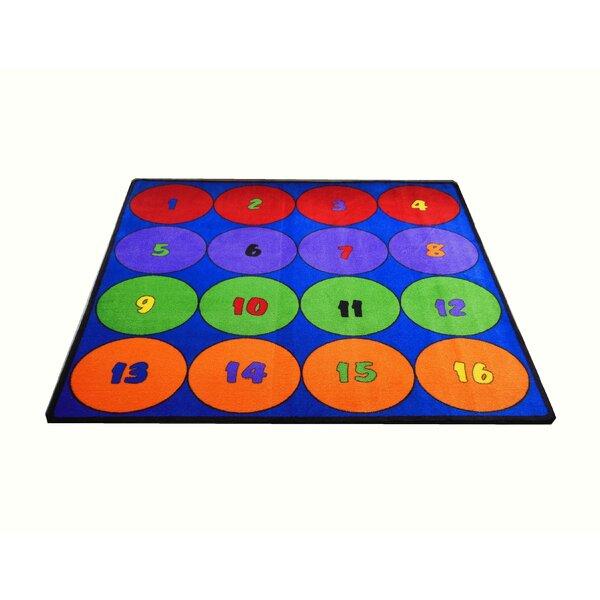 Blue Sitting Circles Blue/Green Area Rug by Kids World Carpets