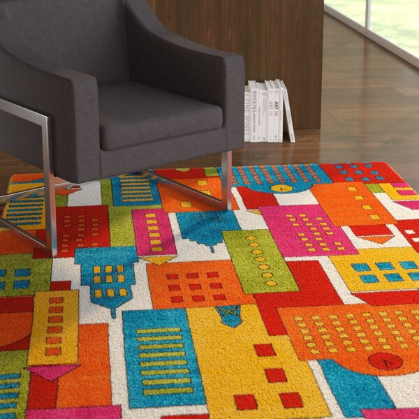 Chunn Orange/Blue Area Rug by Ebern Designs