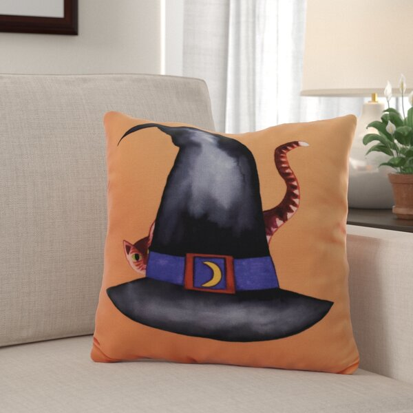 Maser Cat Behind the Hat Halloween Throw Pillow by The Holiday Aisle