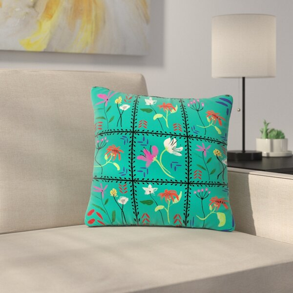 DLKG Design Simple Garden Tiles Floral Outdoor Throw Pillow by East Urban Home