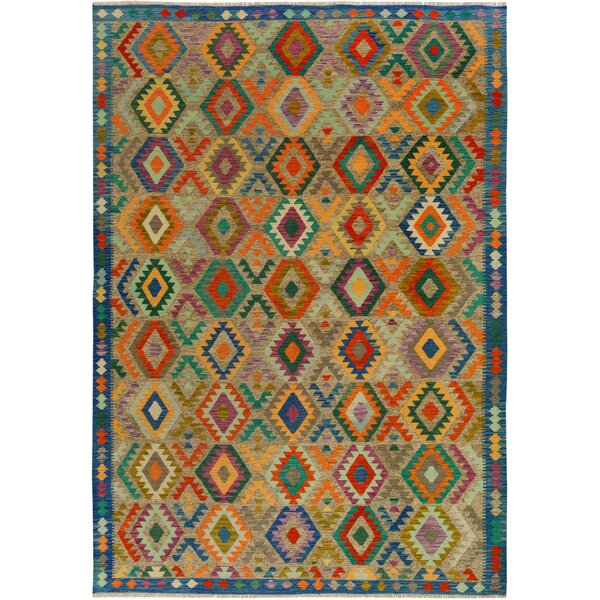 One-of-a-Kind Bakerstown Kilim Hand-Woven Wool Blue/Gray Area Rug by Bloomsbury Market