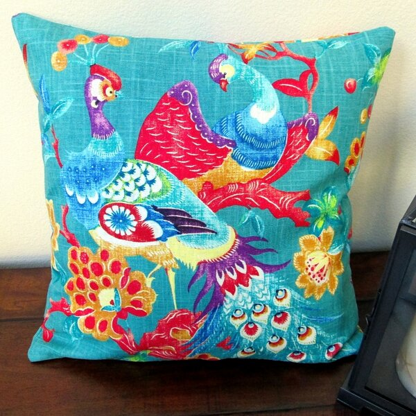 Vintage Peacock in Modern Asian Cottage Indoor Cotton Throw Pillow by Artisan Pillows
