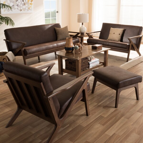 Wojtala Mid-Century Modern Solid 4 Piece Living Room Set by Union Rustic