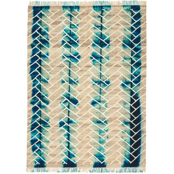 One-of-a-Kind Ibiza Hand-Woven Turquoise/Beige Indoor Area Rug by Bungalow Rose
