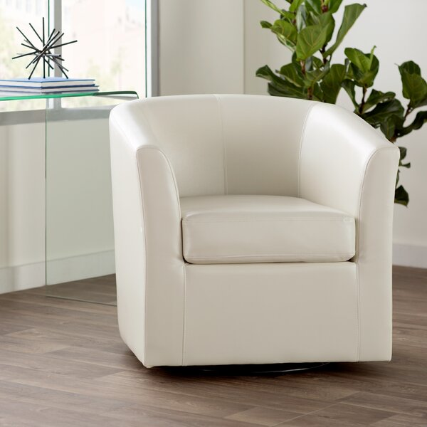 Wilmore Faux Leather Swivel Barrel Chair by Wade L