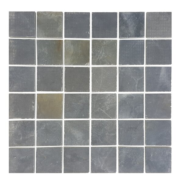 1.87 x 1.87 Stone Mosaics Tile in Dark Silver Dust by Abolos