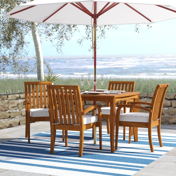 Tovar Tapered Square 5 Piece Dining Set with Cushions by Beachcrest Home