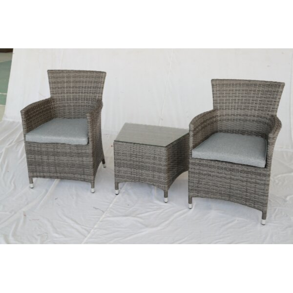 Roisin 3 Piece Rattan Seating Group with Cushions by One Allium Way