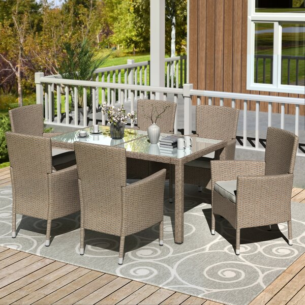 Suismon Patio 7 Piece Dining Set with Cushions