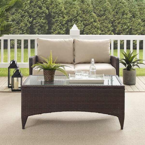 Mosca 2 Piece Rattan Sofa Seating Group with Cushions by World Menagerie