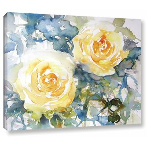 Yellow Roses Painting Print on Wrapped Canvas by Latitude Run