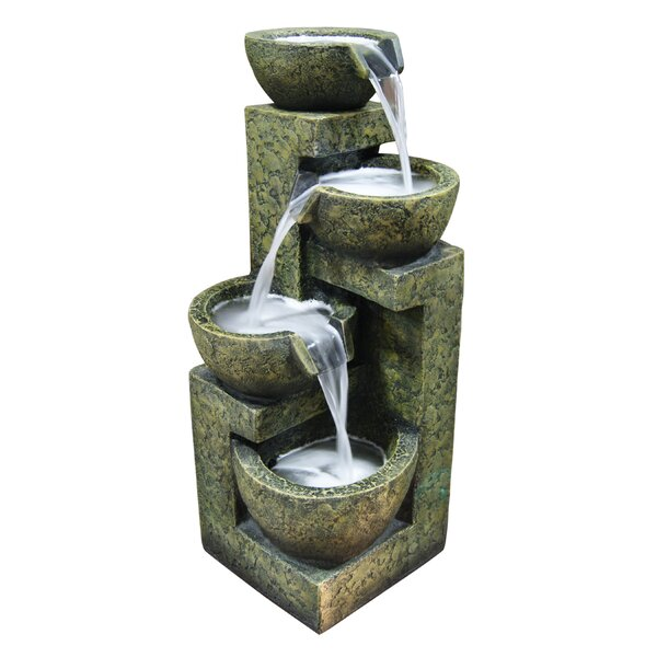 Fiberglass and Stone Tiered Pot Fountain by Woodland Imports
