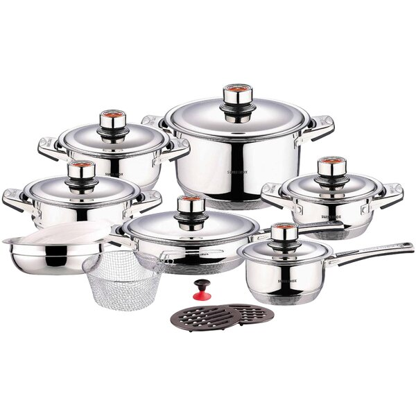 Swiss Inox 18 Piece Stainless Steel Cookware Set by Concord Cookware