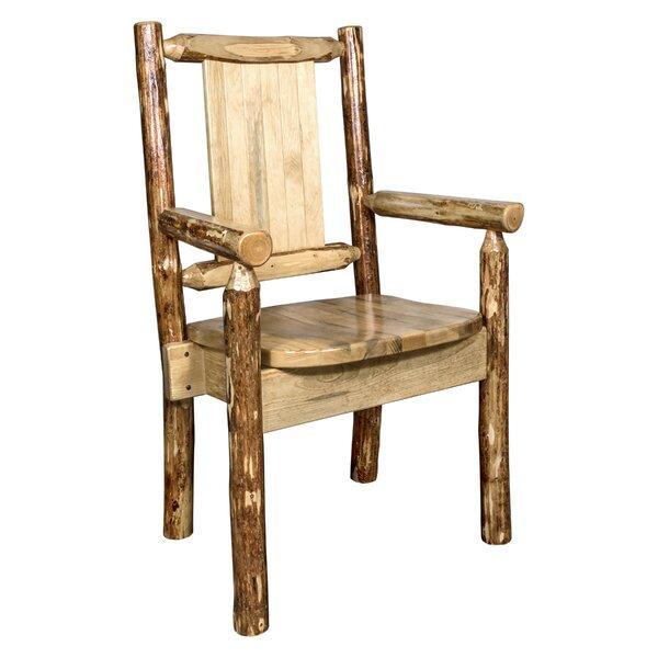 Rivas Solid Wood Slat Back Arm Chair in Brown by Loon Peak Loon Peak