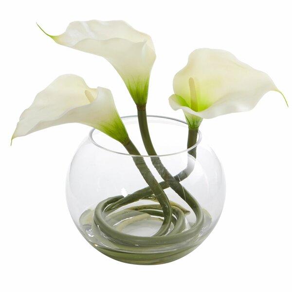 Calla Lily Artificial Floral Arrangement in Glass Vase by Orren Ellis
