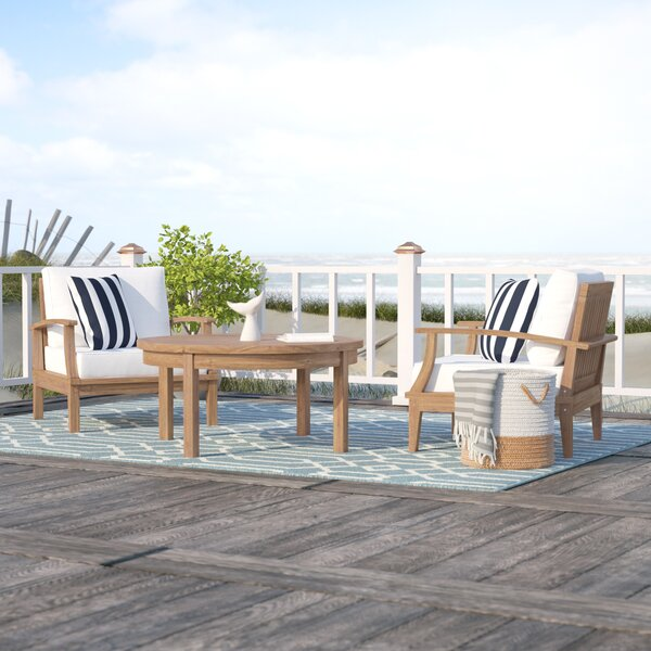 Elaina 3 Piece Teak 2 Person Seating Group with Cushions by Beachcrest Home