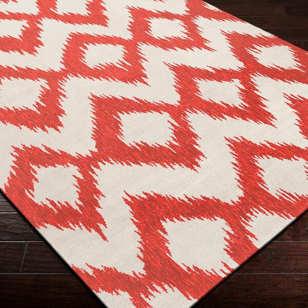Faith Poppy Red/Winter White Ikat Area Rug by Bungalow Rose