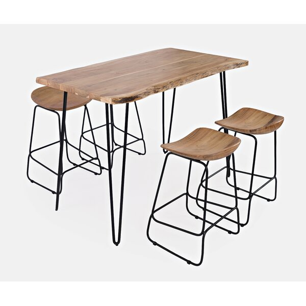 Zhenya 5 Pieces Solid Wood Dining Set by Foundry Select Foundry Select