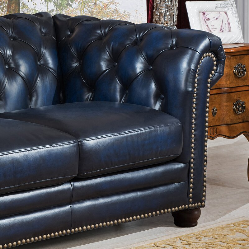 Blue Leather Chesterfield Sofa T Austin Design Forsyth