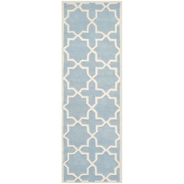 Wilkin Hand-Tufted Blue/Ivory Area Rug by Wrought Studio