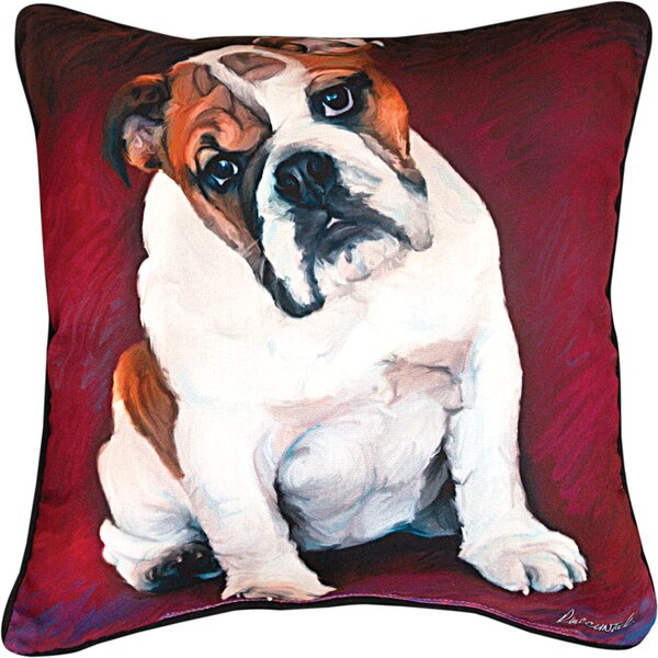 Bulldog Baby Throw Pillow by Manual Woodworkers & Weavers