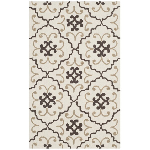Back Forty Hand-Hooked Ivory/Gray Indoor/Outdoor Area Rug by Red Barrel Studio