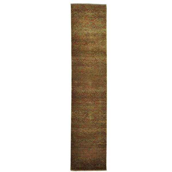 Damask Tone on Tone Hand-Knotted Brown Area Rug by Bloomsbury Market