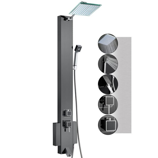 48 Rainfall Shower Panel Tower System with Handheld Shower Head and Tub Spout - Includes Rough-In Valve by AKDY