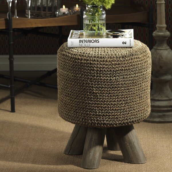 17.75-inch Tall Raku Woven Vanity Stool by Zodax