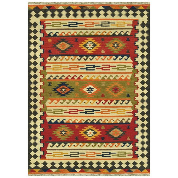 Palu Hand-Woven Green/Red/Yellow Area Rug by Union Rustic