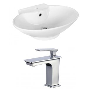 Find for Above Counter Ceramic Oval Vessel Bathroom Sink with Faucet and Overflow ByRoyal Purple Bath Kitchen
