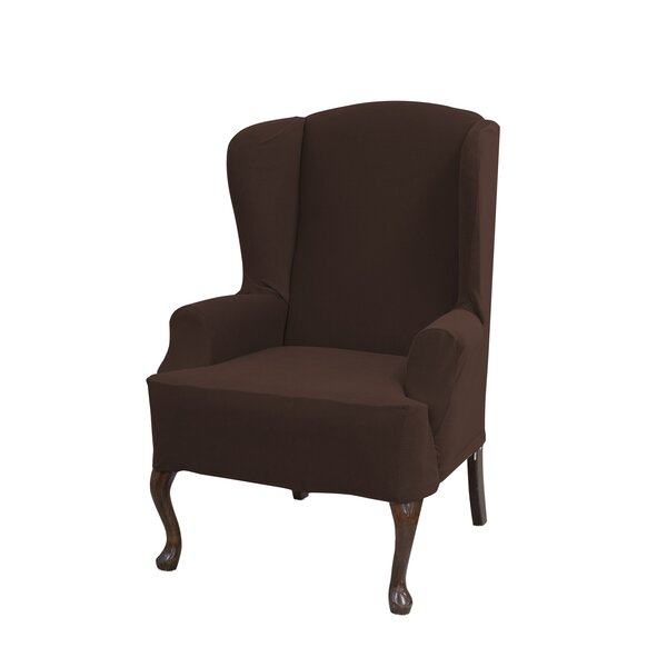 Deals Price Stretch Grid Box Cushion Wingback Slipcover