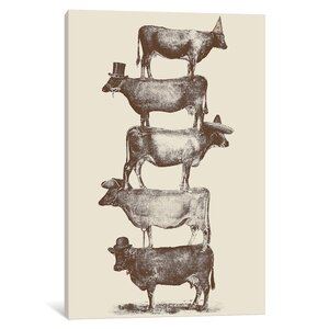 'Cow Cow Nuts' Painting Print on Wrapped Canvas by East Urban Home