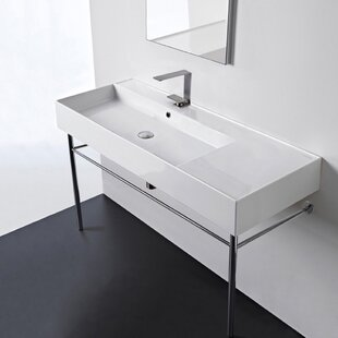 Comparison Ceramic 48'' Console Bathroom Sink with Overflow ByScarabeo by Nameeks