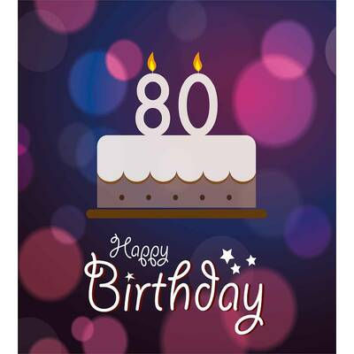 80th Birthday Decorations Abstract Backdrop With Party Cake And Candles Duvet Cover Set