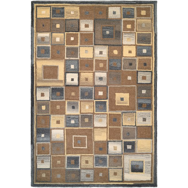 Owensville Abstract Squares Hand-Woven Brown Area Rug by Andover Mills