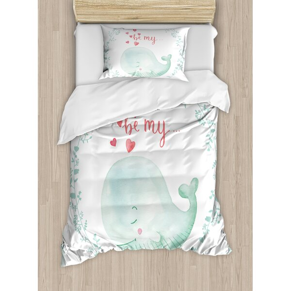 Whale with Be My Love Quote Hearts inside Floral Wreath Romantic Marine Almond Duvet Set by Ambesonne