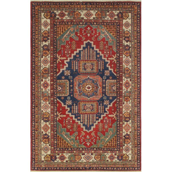 One-of-a-Kind Bronzewood Hand-Knottedl Wool Red Area Rug by Isabelline