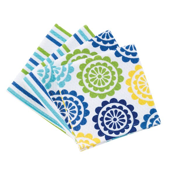 4 Piece Stripe/Medallion Print Dual Dishcloth Set by T-fal