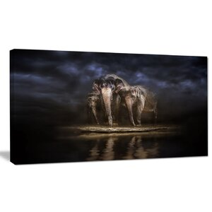 'Elephants Watering in the River' Painting Print on Canvas by Design Art