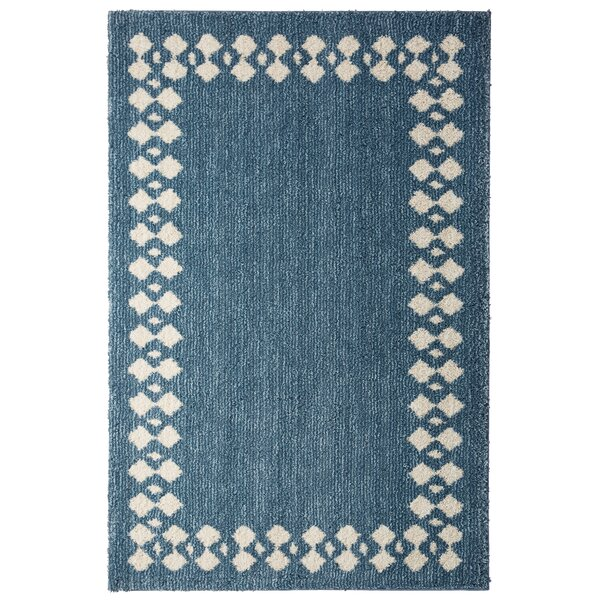 Opal Stacked Border Blue/Beige Area Rug by August Grove