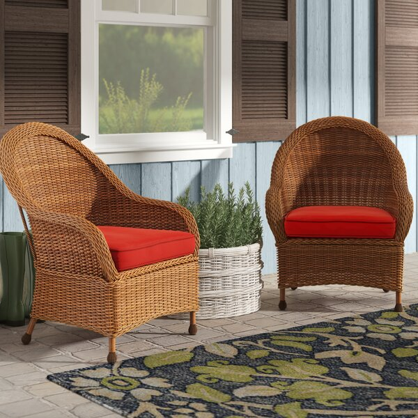 Acree Hacienda Patio Dining Chair with Cushion (Set of 2) by One Allium Way