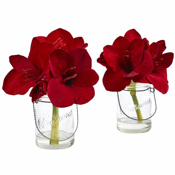 Amaryllis Flowers in Decorative Vase (Set of 2) by Nearly Natural