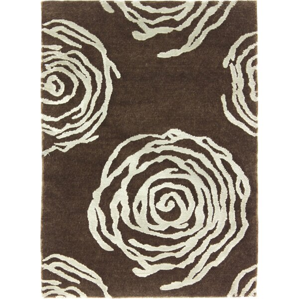 One-of-a-Kind Audrick Tibetan Hand-Knotted Brown Area Rug by Isabelline