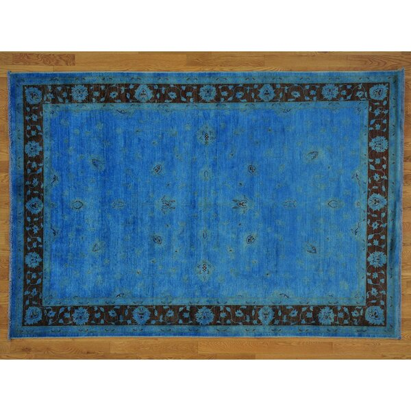 One-of-a-Kind Beaumont Denim Overdyed Hand-Knotted Blue Wool Area Rug by Isabelline