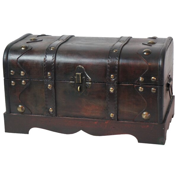 Beese Small Pirate Style Wooden Treasure Chest in