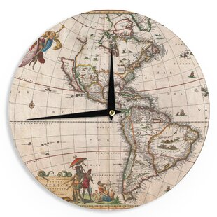 World map clock wayfair bruce stanfield vintage map of the americas 12 wall clock gumiabroncs Choice Image