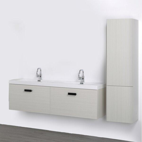 63 Wall-Mounted Double Bathroom Vanity Set