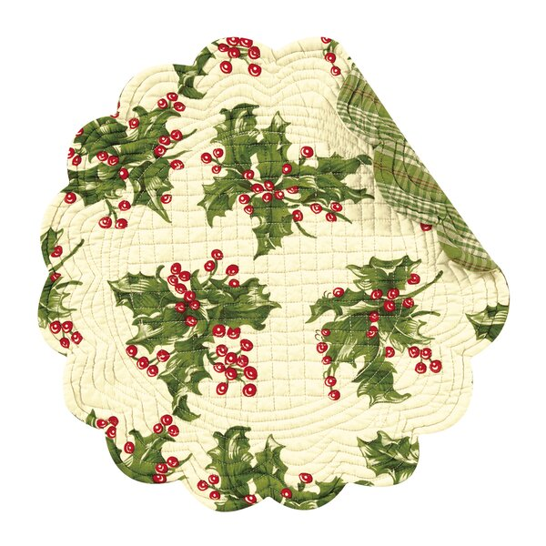 Holly Reversible Round Quilt Placemat (Set of 6) by The Holiday Aisle