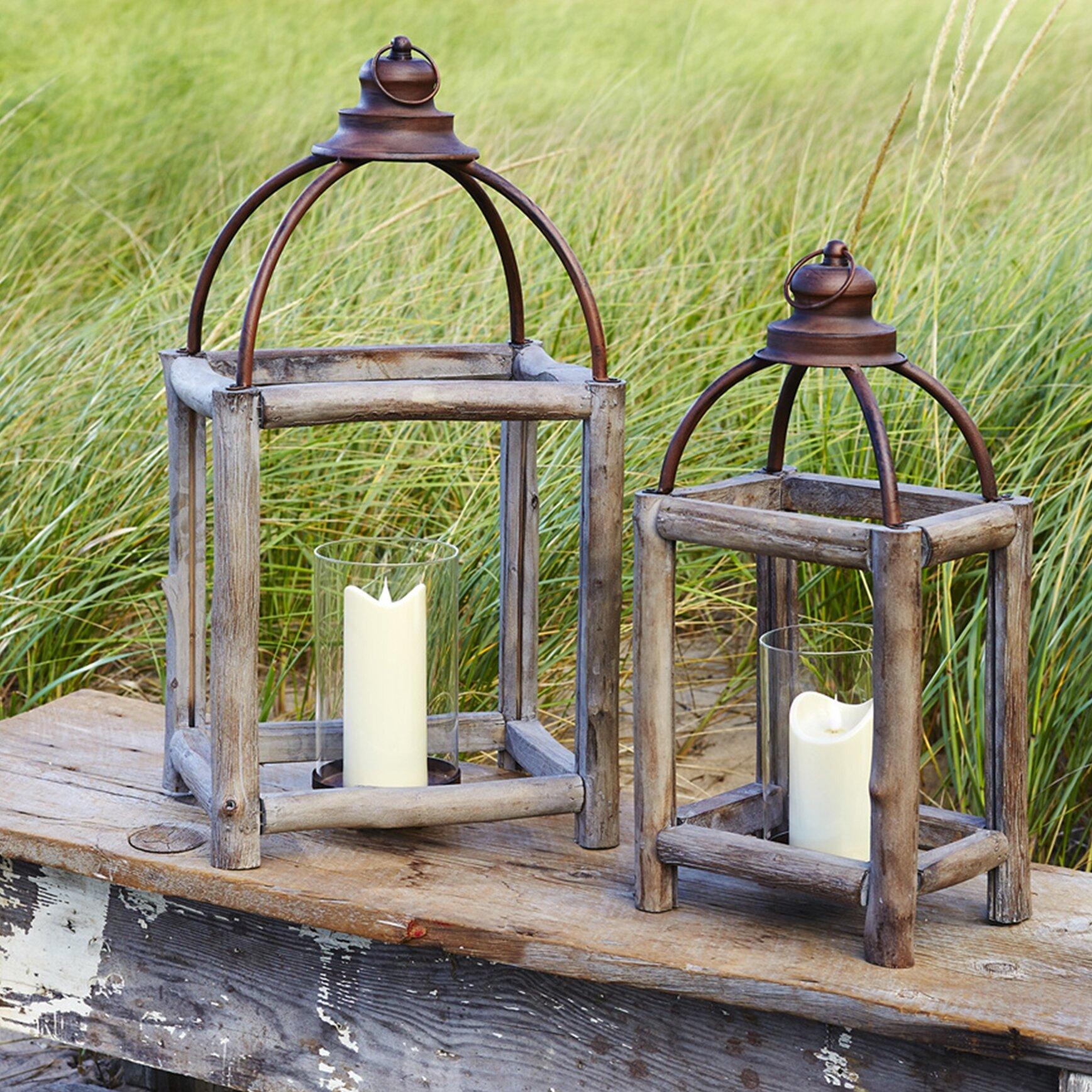 Chic Wooden Pine Pillar Candle Lantern w// Metal Top Indoor or Outdoor Lot of 4